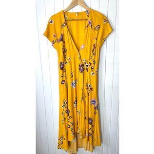 Free People Yellow Floral Midi Dress